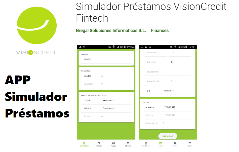 APP VisionCredit Fintech Simulador Prestamo